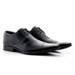 Sapato Social Estilo Italiano com Cadarço Couro Pr... - Torani Calçados