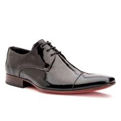 Sapato Social Masculino Couro Preto Verniz