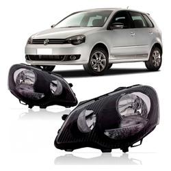Farol Polo 2007 a 2012 Máscara Preta - Total Latas - A loja online do seu automóvel