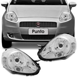 Farol Punto 2008 a 2012 Cromado - Total Latas - A loja online do seu automóvel