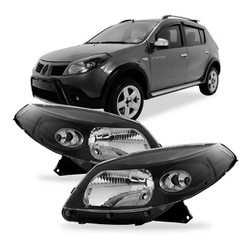 Farol Sandero 2008 a 2011 Máscara Preta - Total Latas - A loja online do seu automóvel
