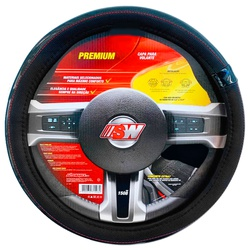 Capa para volante universal c/ costura vermelha - ... - Total Latas - A loja online do seu automóvel