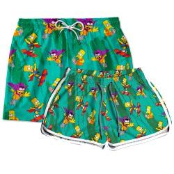 Kit Casal Short Praia Estampado Bart Simpsons Use ...