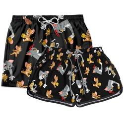 Kit Casal Short De Praia Estampado Tom e Jerry Use...