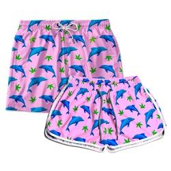 Kit Shorts Casal Masculino e Feminino Golfinhos Us...