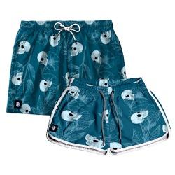 Kit Shorts Casal Masculino e Feminino Caveira Azul...