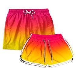 Kit Shorts Casal Masculino e Feminino Degrade Rosa...