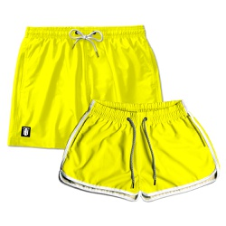 Kit Shorts Casal Masculino e Feminino Amarelo Liso...
