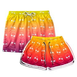 Kit Shorts Casal Masculino e Feminino Aliens Amare...