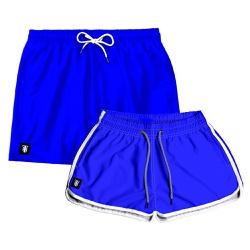 Kit Shorts Casal Masculino e Feminino Azul Liso Us...