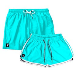 Kit Shorts Casal Masculino e Feminino Azul Turques...