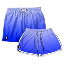 Kit Shorts Casal Masculino e Feminino Azul Degrade...