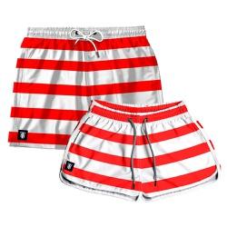 Kit Shorts Casal Masculino e Feminino Listrado Ve...