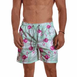 Short Praia Masculino Flamingo Verde e Branco Use ... - Use Thuco