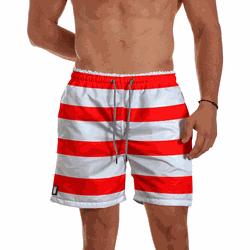 Short Praia Masculino Listrado Vermelho Use Thuco ... - Use Thuco