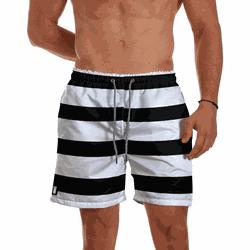 Short Praia Masculino Listrado Black White Use Thu... - Use Thuco
