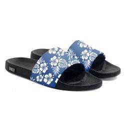 Chinelo Slide Unissex Floral Azul e Branco Use Thu... - Use Thuco