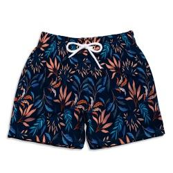 Short Praia Infantil Tropicália Azul Escuro Use Th... - Use Thuco