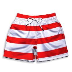 Short Praia Infantil Listrado Branco e Vermelho Us... - Use Thuco