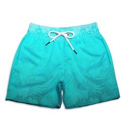 Short Praia Infantil Folhagens Azul Turquesa Use T... - Use Thuco