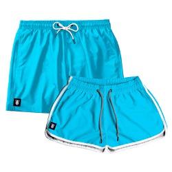 Kit Shorts Casal Masculino e Feminino Azul Claro U...