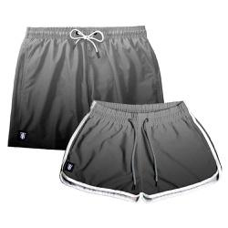 Kit Shorts Casal Masculino e Feminino Degrade Pre...