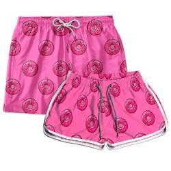 Kit Shorts Casal Masculino e Feminino Rosquinhas U...
