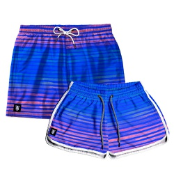Kit Shorts Casal Masculino e Feminino Azul Royal c...
