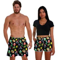 Kit Shorts Casal Masculino e Feminino Video Game S...