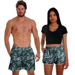 Kit Shorts Casal Masculino e Feminino Floral Azul ...