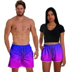 Kit Shorts Casal Masculino e Feminino Degrade Nigh...