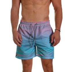 Short Praia Masculino Azul e Rosa Degrade com List... - Use Thuco