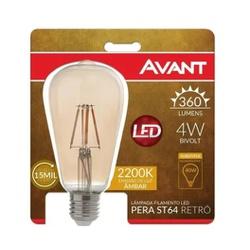LAMPADA RETRO PERA ST64 E27 BQ 2200K 4W 180020277-... - VIA BRASIL CASA & CONSTRUÇÃO