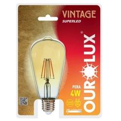 LAMPADA LED PERA ST64 E27 4W BIVOLT 2400K VINTAGE-... - VIA BRASIL CASA & CONSTRUÇÃO