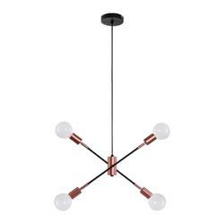 PENDENTE BOLT METAL 4 LAMPADAS PRETO COBRE QPD1362... - VIA BRASIL CASA & CONSTRUÇÃO