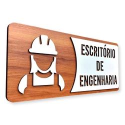 Placa De Sinalização   Engenharia - MDF 30x13cm Co... - VICTARE