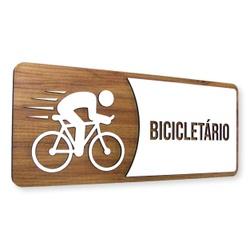 Placa De Sinalização   Bicicletário - MDF 30x13cm ... - VICTARE