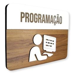 Placa De Sinalização   Programação - MDF 30x21cm -... - VICTARE