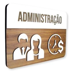 Placa De Sinalização | Administração - MDF 30x21cm... - VICTARE