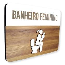 Placa De Sinalização | Banheiro Feminino - MDF 30x... - VICTARE