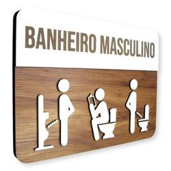 Placa De Sinalização | Banheiro Masculino - MDF 30... - VICTARE