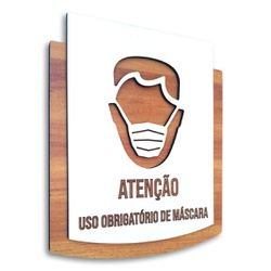 Placa De Sinalização | Uso de Máscara - MDF 15x13c... - VICTARE