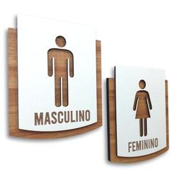 Kit Placa De Sinalização | Masculino - Feminino -... - VICTARE