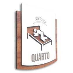 Placa De Sinalização | Quarto - MDF 15x13cm - PE00... - VICTARE