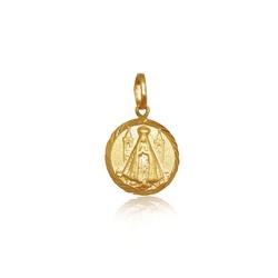Pingente de Nossa Senhora aparecida Redonda mini em ouro 18k - P-095 - VIU GOLD