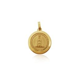 Pingente de Nossa Senhora aparecida Redonda média em ouro 18k - P-096 - VIU GOLD
