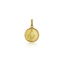 Pingente de Nossa Senhora das Graças redonda em ouro 18k - P-090 - VIU GOLD
