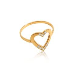 Anel em Ouro 18k amarelo de Coração com 8 diamantes sintéticos - AN-1... - VIU GOLD