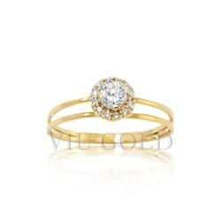 Anel aro duplo em ouro 18k amarelo com Diamantes sintéticos - AN-040 - VIU GOLD