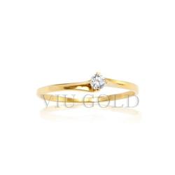 Anel solitário em ouro 18k amarelo com Diamante sintético - AN-033 - VIU GOLD